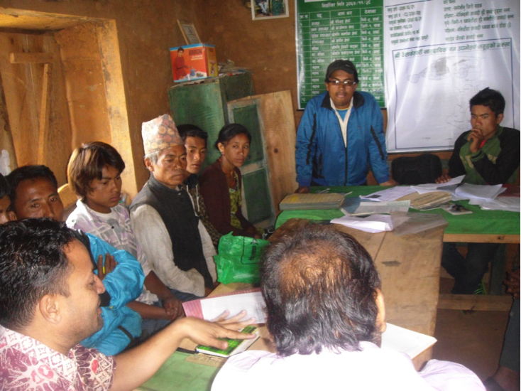 The meeting between the audit team and one of the Community Forestry User Groups in Dolakha district of Nepal (2013).