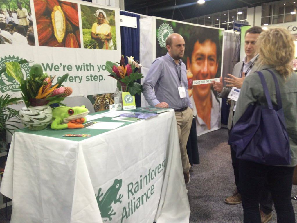 Rainforest Alliance staff meet with producers and companies at the SCAA Expo.