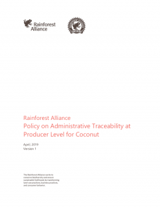 Policy on Administrative Traceability at Producer Level for Coconut