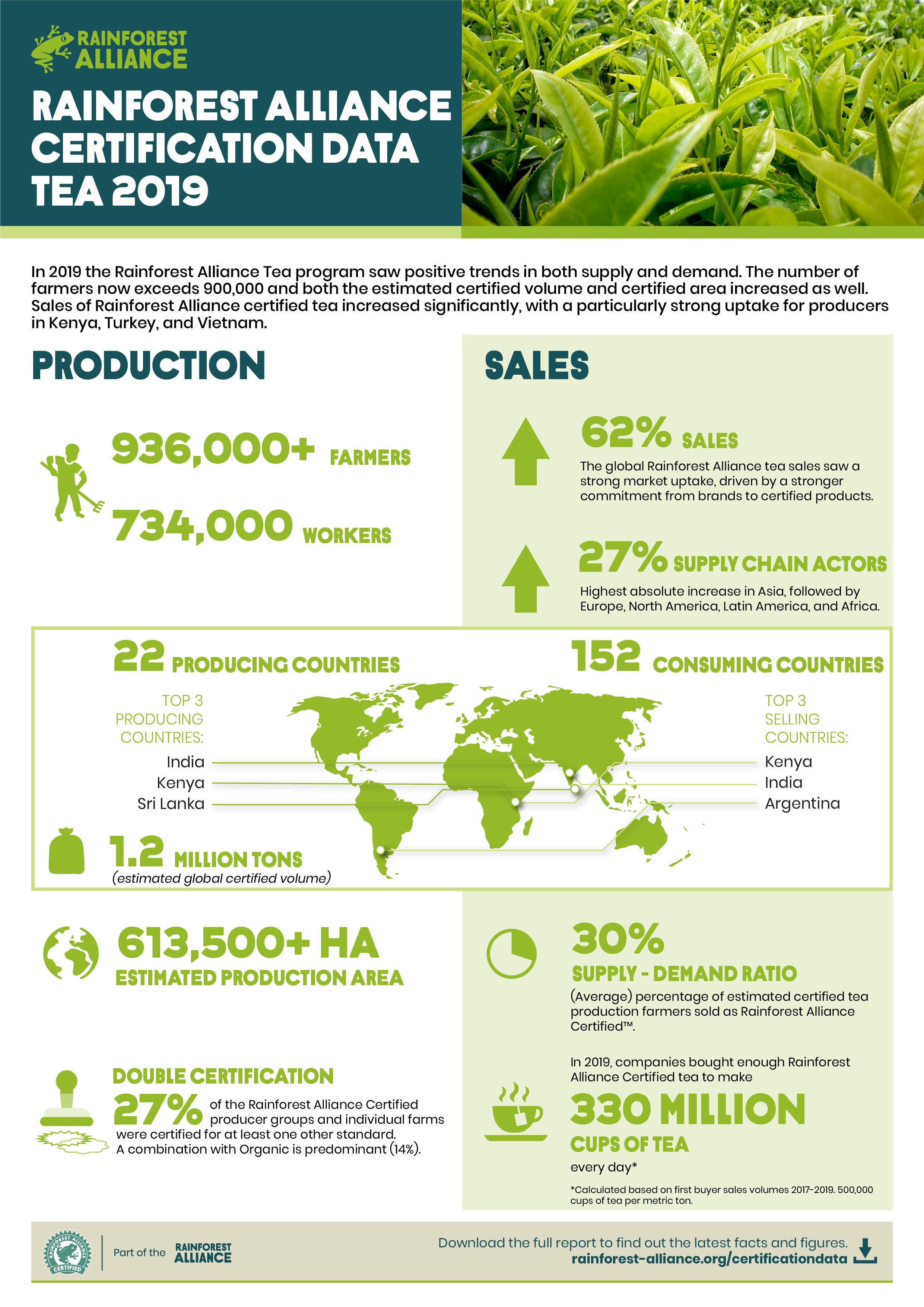 tea rainforest alliance certification statistics infographics coffee unlocks farmers markets going global cocoa report infografias certified