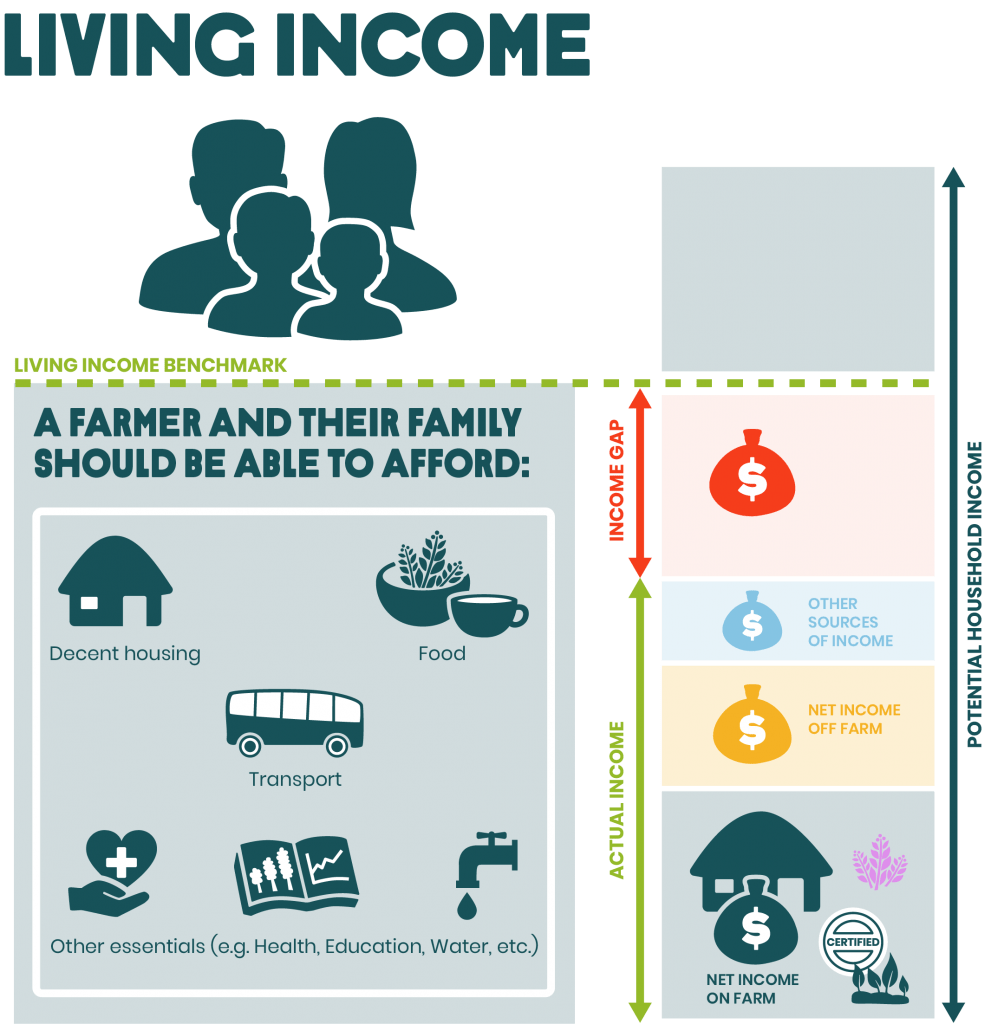 A living Income includes housing, food, education, healthcare, and emergency funds.