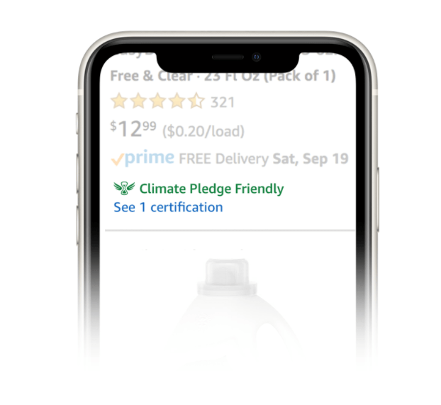 Image of a phone screen with the Climate Pledge Friendly logo displayed under the listed product on Amazon.com.